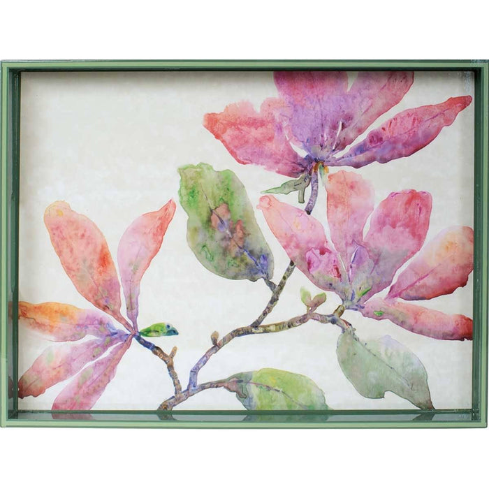 Pink Magnolia 15 x 20 inch Rectangular Lacquer Art Serving Tray - rockflowerpaper LLC