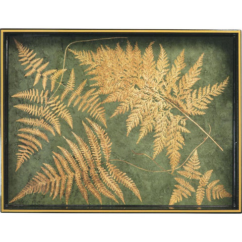 Gilded Ferns Green 15 X 20 Inch Rectangular Lacquer Art Serving Tray