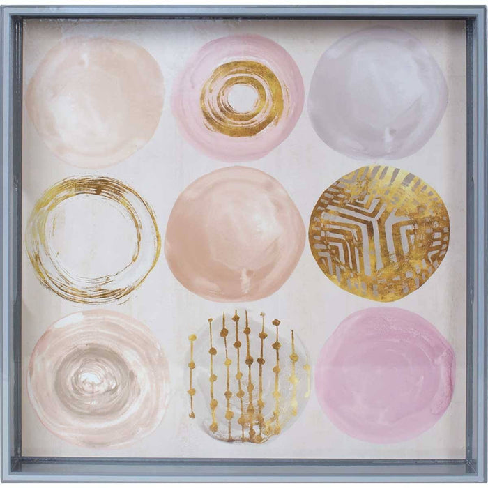 Rose Gold Medallions 15 inch Square Lacquer Art Serving Tray - rockflowerpaper LLC