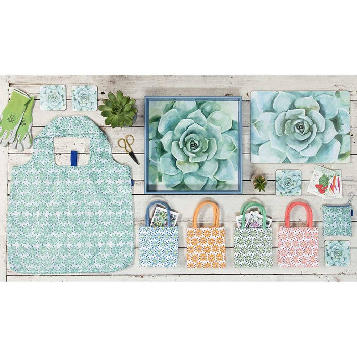 Verdant Succulent 15 inch Square Lacquer Art Serving Tray - rockflowerpaper LLC