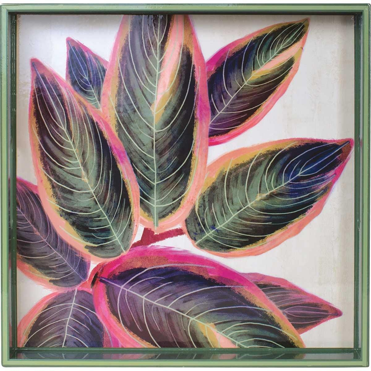 Rubber Plant 15 inch Square Lacquer Art Serving Tray
