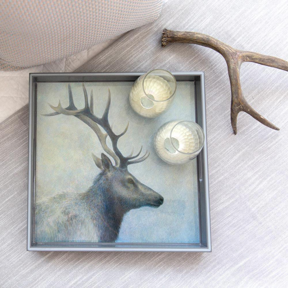 Elk Blue 15 Inch Square Lacquer Art Serving Tray - rockflowerpaper LLC