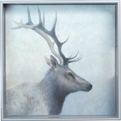 Elk Blue 15 Inch Square Lacquer Art Serving Tray