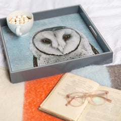 Snowy Owl Blue 15 Inch Square Lacquer Art Serving Tray