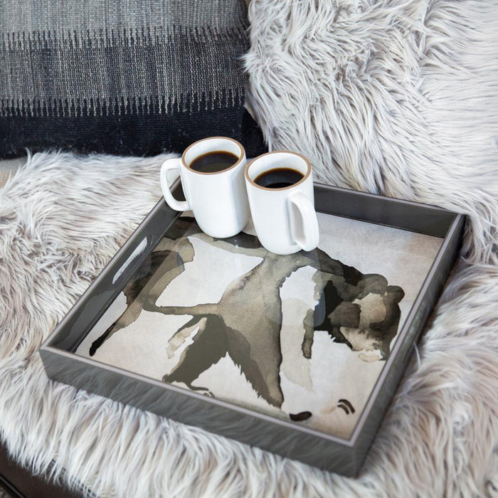 Bear Neutral 15 Inch Square Lacquer Art Serving Tray - rockflowerpaper LLC