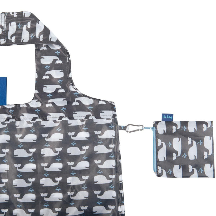 Whales Grey Blu Bag Reusable Shopping Bag - rockflowerpaper LLC
