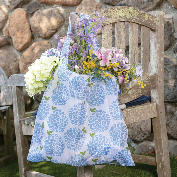 Hydrangea Blue Blu Bag Reusable Shopping Bags - rockflowerpaper LLC