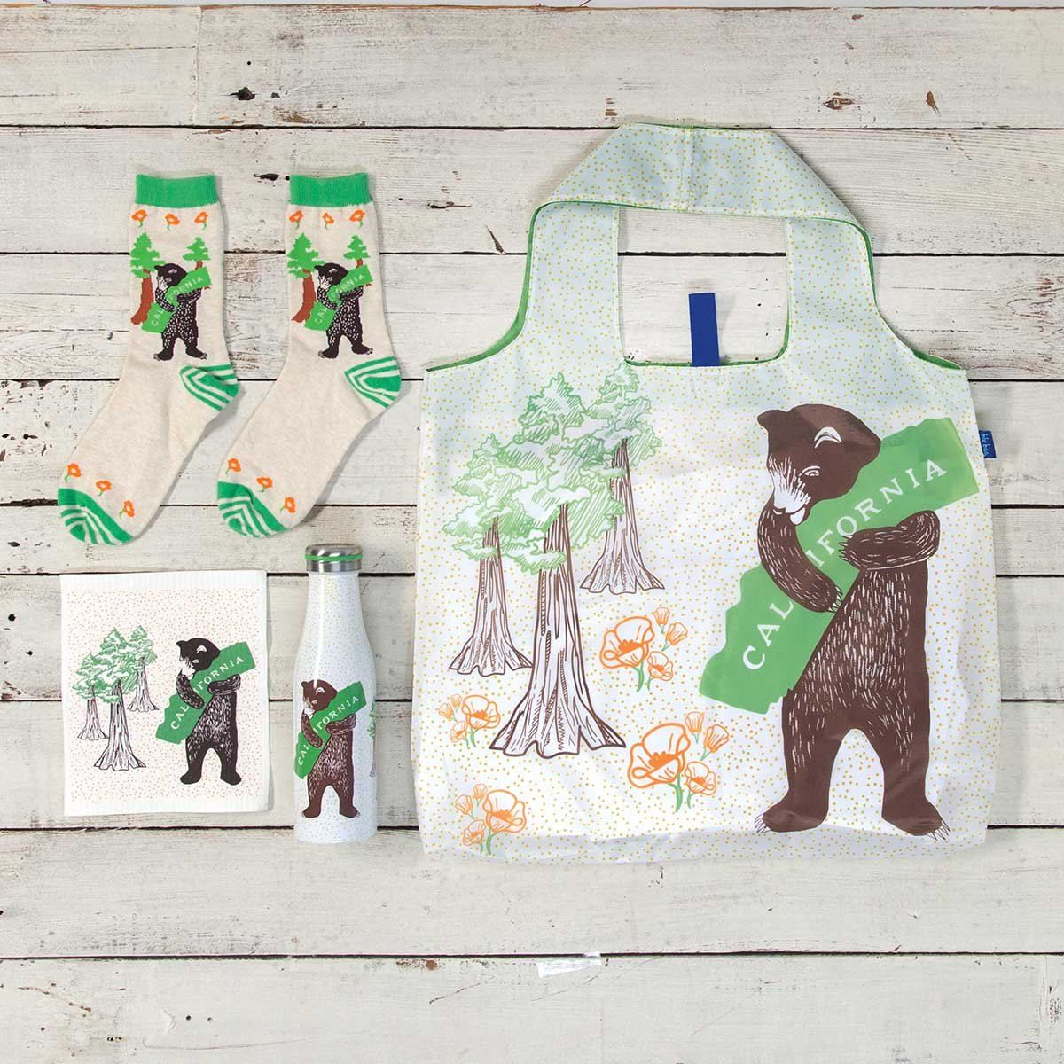 California Bear Blu Bag Reusable Shopping Tote