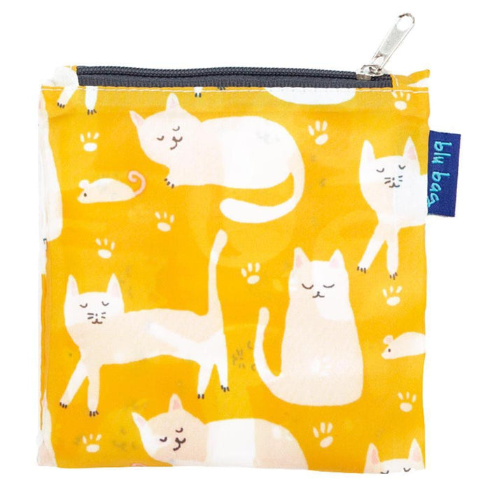 Kitty Cats Yellow Blu Bag Reusable Shopping Bags - rockflowerpaper LLC