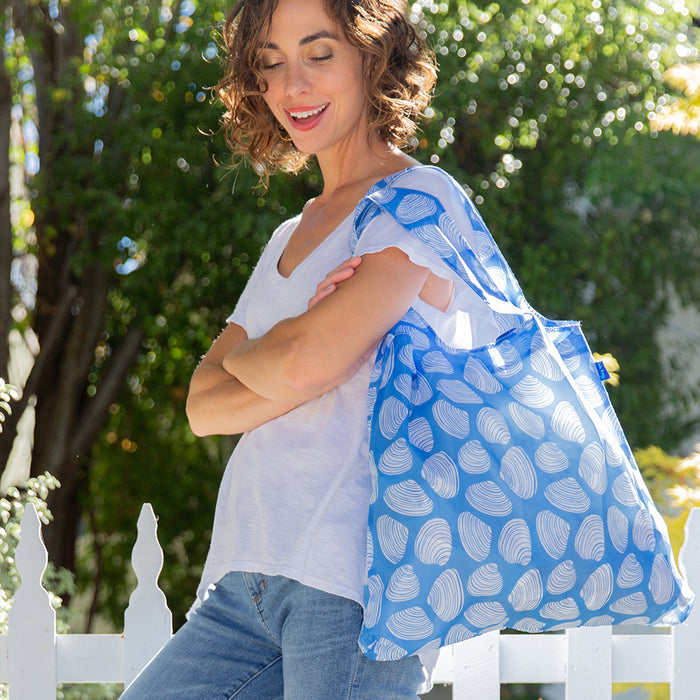 Clamshells Blue Blu Bag Reusable Shopping Bags - rockflowerpaper LLC