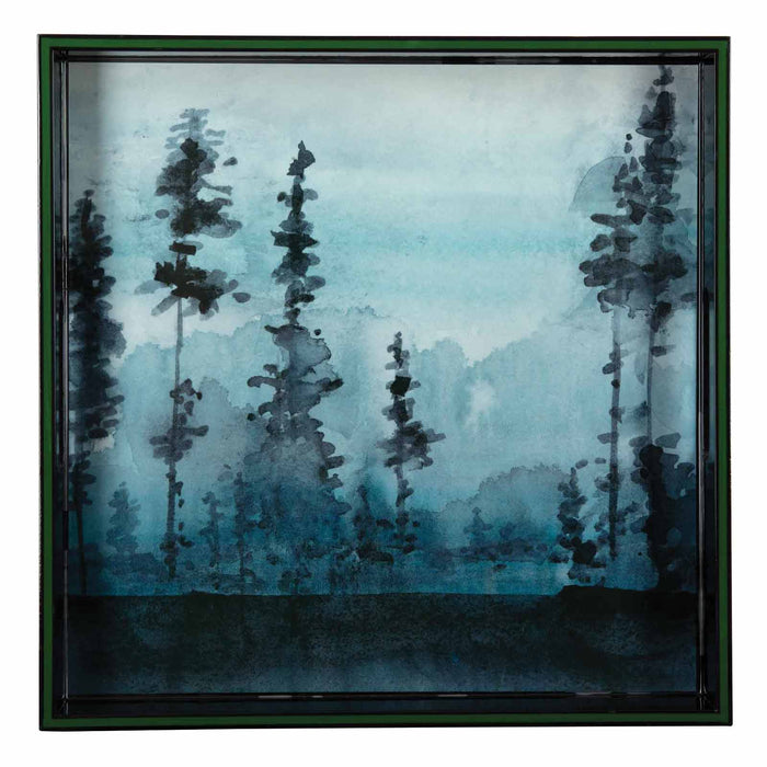 Winter Trees Blue 15 inch Square Lacquer Art Serving Tray