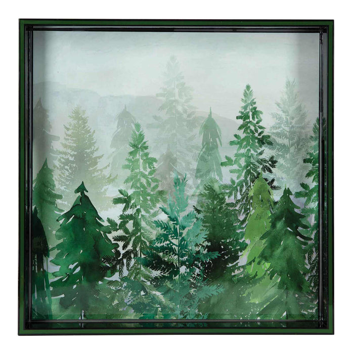 Emerald Forest Green 15 inch Square Lacquer Art Serving Tray