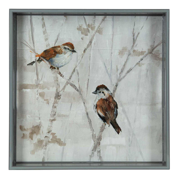Sparrows Neutral 15 inch Square Lacquer Art Serving Tray