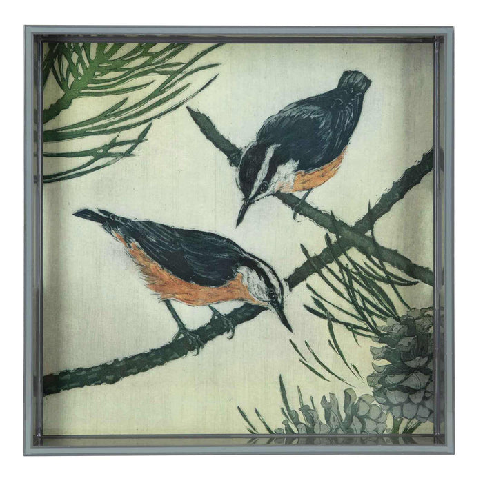 Nuthatches Neutral 15 inch Square Lacquer Art Serving Tray