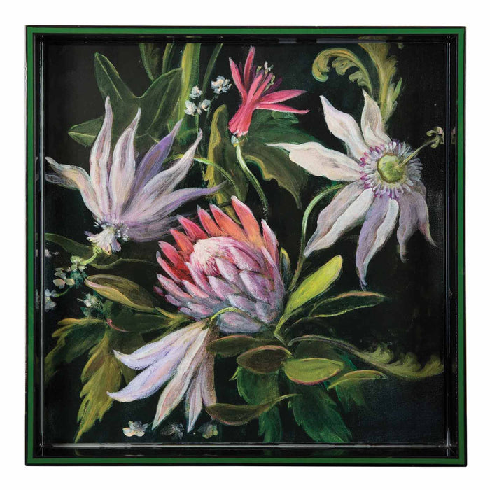 Protea Green 15 inch Square Lacquer Art Serving Tray