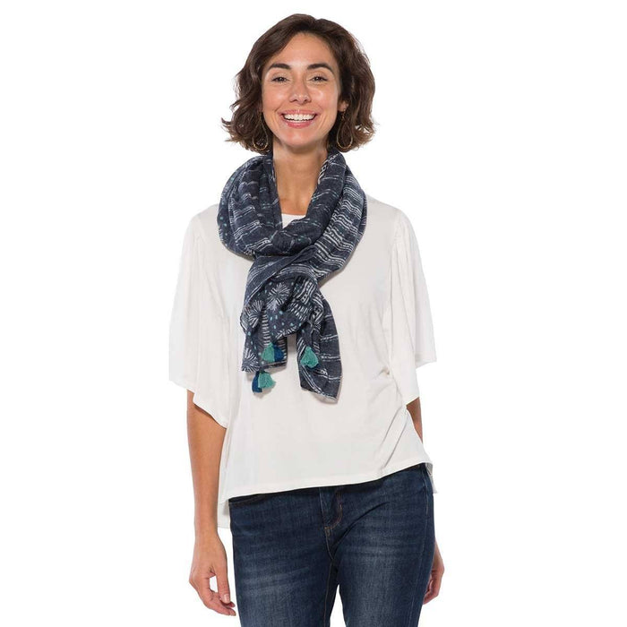 Leila Blue Mud Cloth Scarf/Shawl - rockflowerpaper LLC