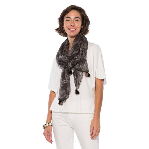 Nene Black Mud Cloth Scarf/Shawl - rockflowerpaper LLC