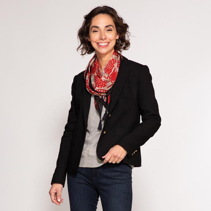 Gianna Red Square Silk Scarf - rockflowerpaper LLC