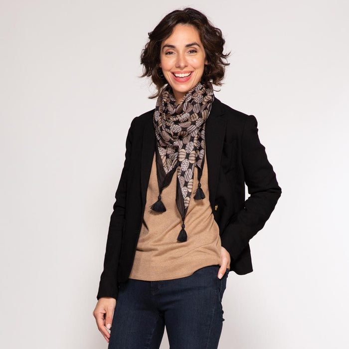 Kimberly Charcoal Square Silk Scarf - rockflowerpaper LLC