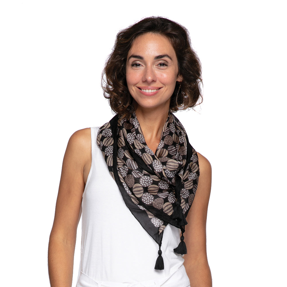 Kimberly Charcoal Square Silk Scarf