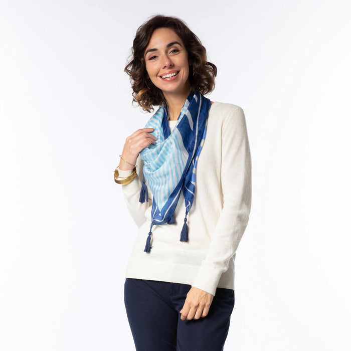 Mariah Stripe Blue Silk Scarf