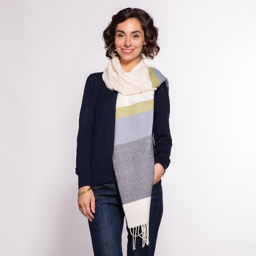 Navy And Olive Stripe Wrap/Scarf