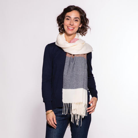 Navy And Pink Stripe Wrap/Scarf