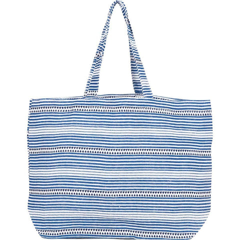 Bethany Blue Jute Carryall Tote Bag