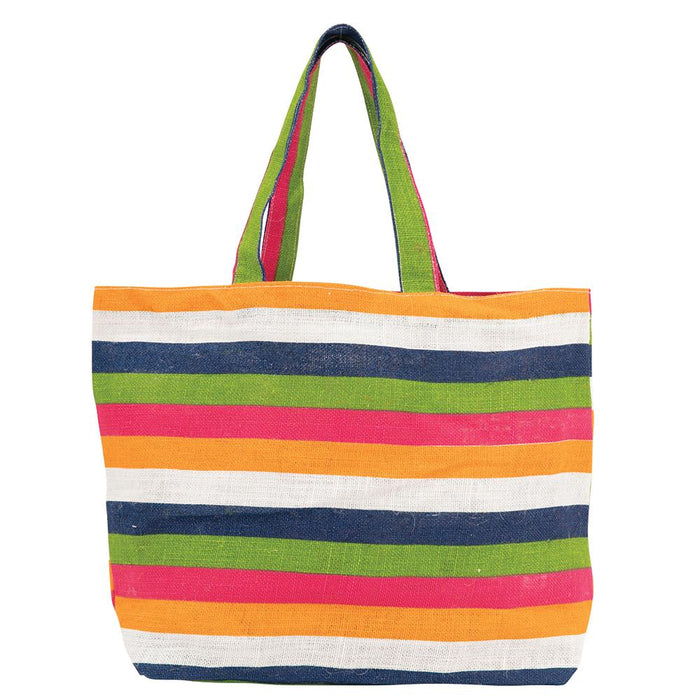 Coastal Stripe Large Biodegradable blu Jute Tote - rockflowerpaper LLC