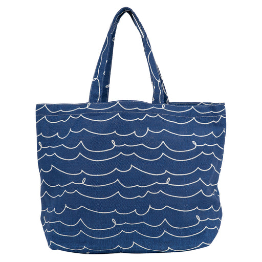 Coastal Waves Biodegradable blu Jute Tote - rockflowerpaper LLC