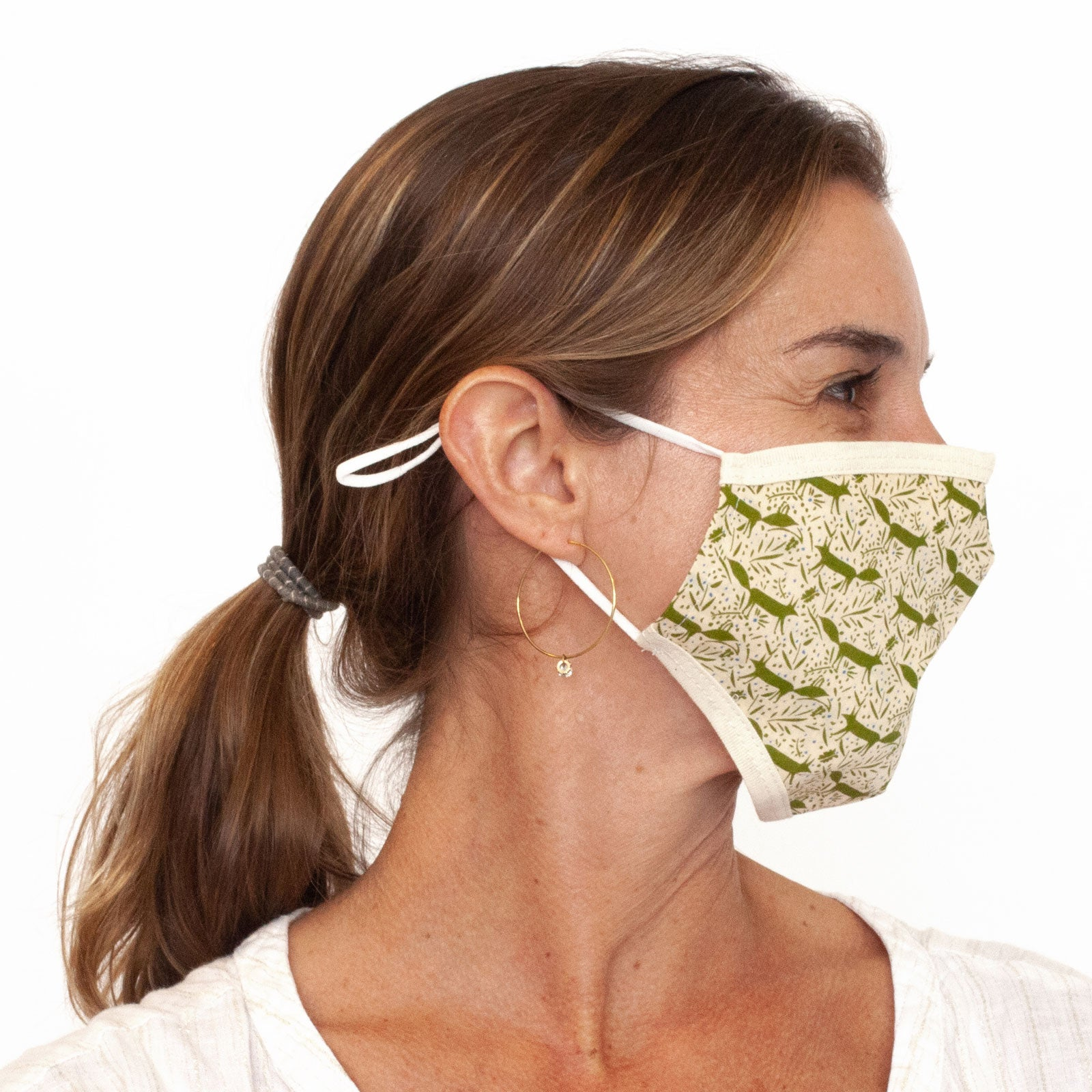 Foxes Olive Reusable & Adjustable 100% Cotton Face Mask