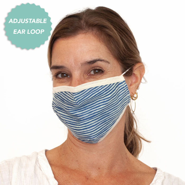 Suri Navy Reusable & Adjustable 100% Cotton Face Mask