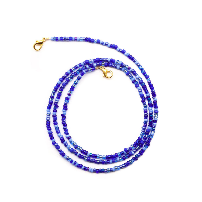 Blue Glass Beaded Face Mask Lanyard Necklace