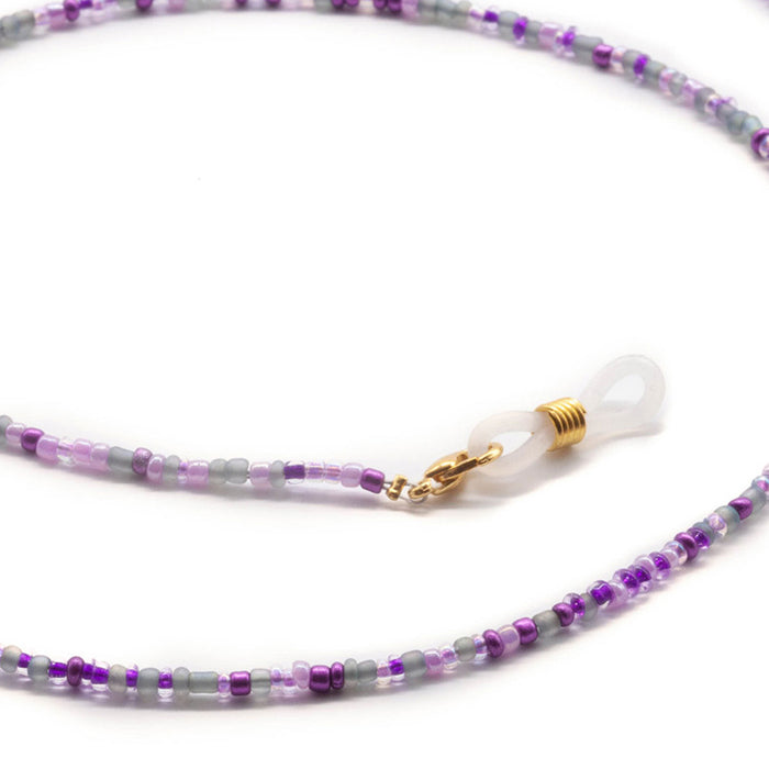 Purple Glass Beaded Face Mask Lanyard Necklace