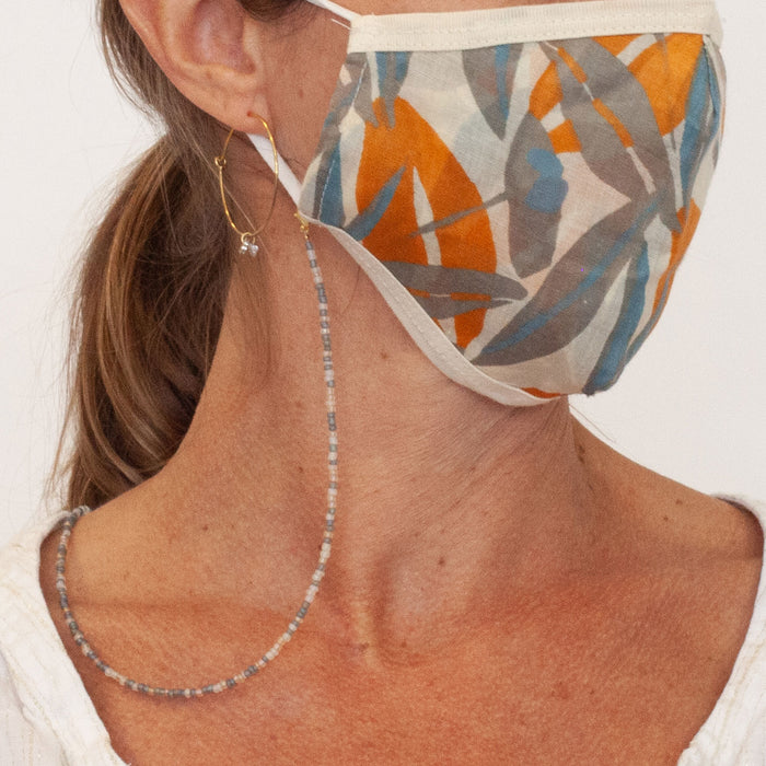 Silver Glass Beaded Face Mask Lanyard Necklace