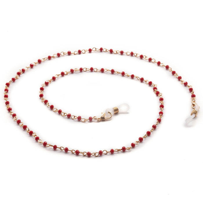 Gold Chain Face Mask Lanyard Necklace - Red