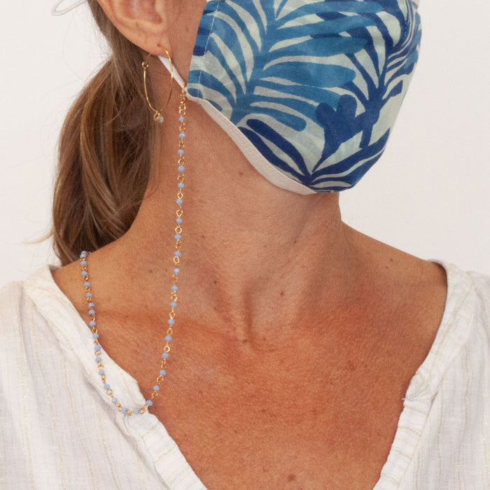 Gold Chain Face Mask Lanyard Necklace - Blue