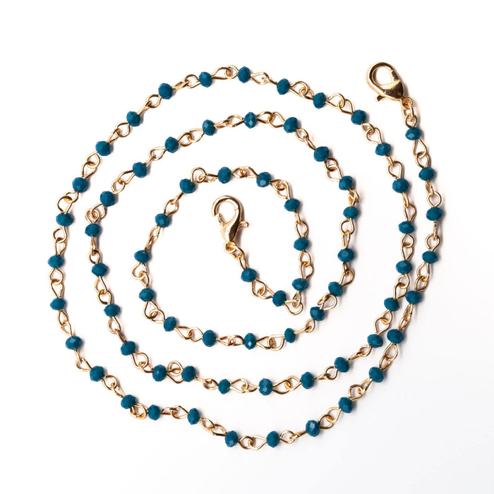 Gold Chain Face Mask Lanyard Necklace - Teal