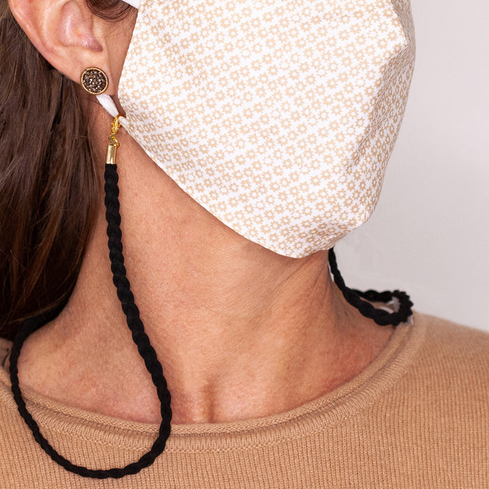 Black Braided Leather Face Mask Necklace