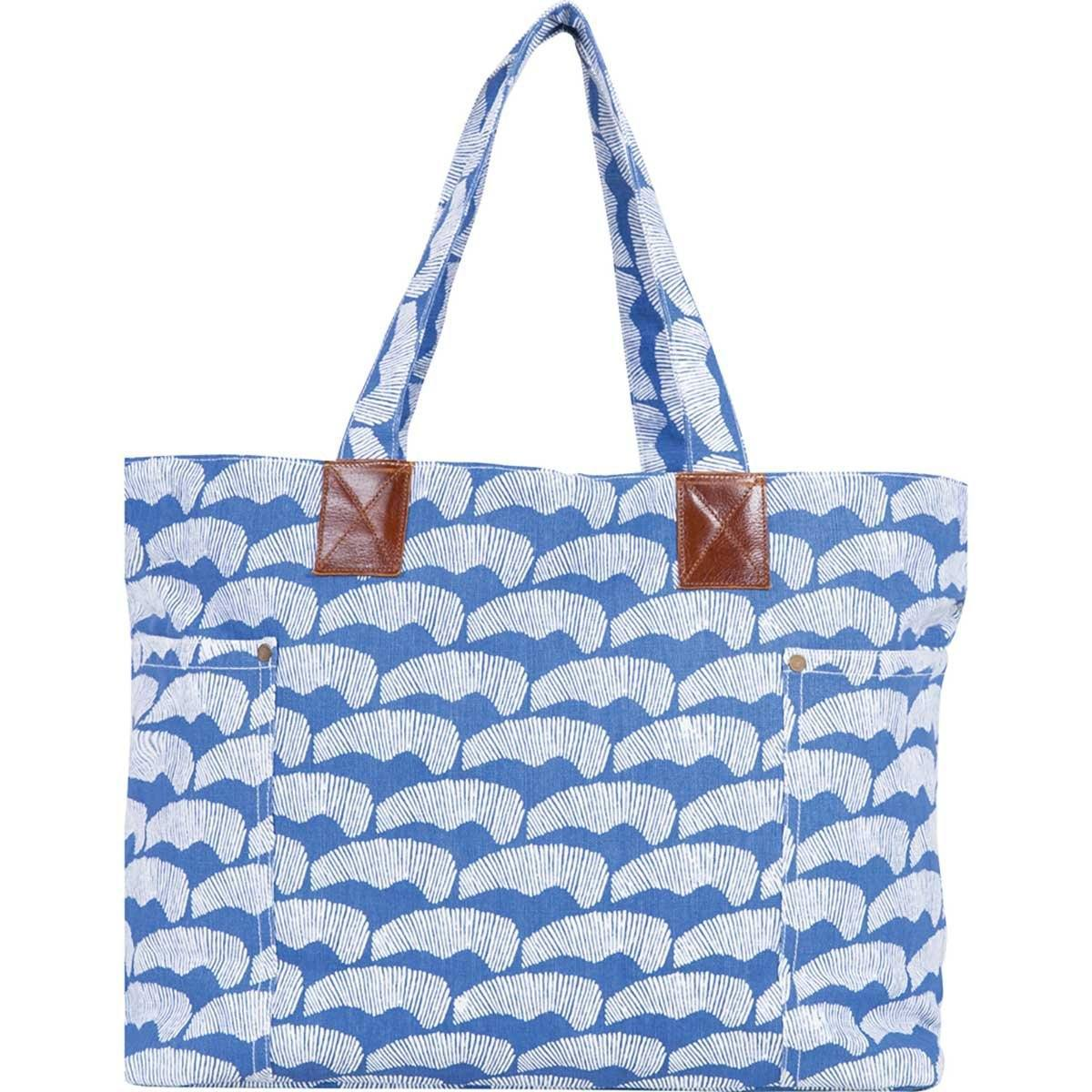 Sand Dunes Blue Relaxed Canvas Tote Bag