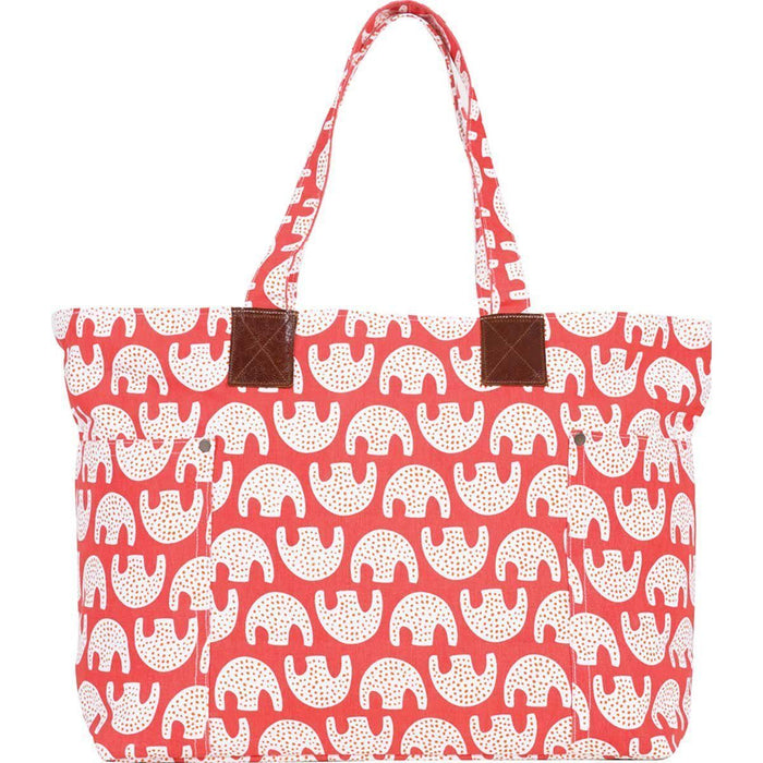 Uma Coral Relaxed Canvas Tote Bag - rockflowerpaper LLC