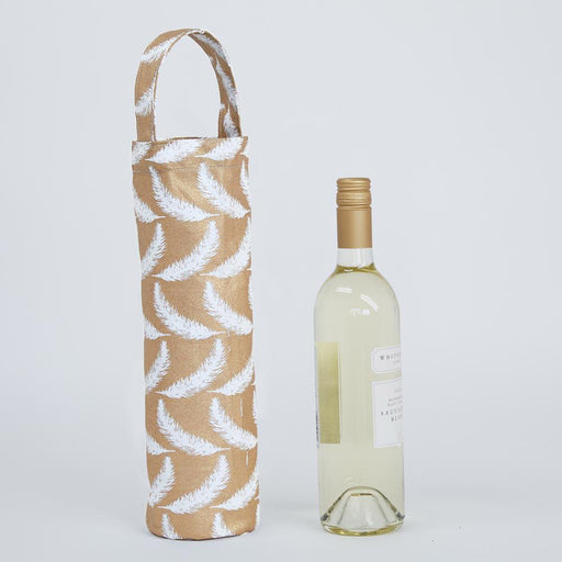 Feathers Gold Wine Gift Bag - rockflowerpaper LLC