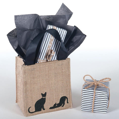 Cats Black Medium Jute Itsy Bitsy Gift Bags, Pack of 4 (Price is Per Bag) - rockflowerpaper LLC