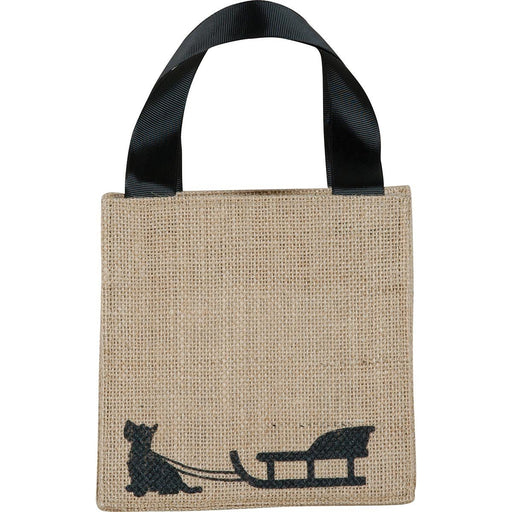 Dog Sled Black Medium Jute Itsy Bitsy Gift Bags - rockflowerpaper LLC