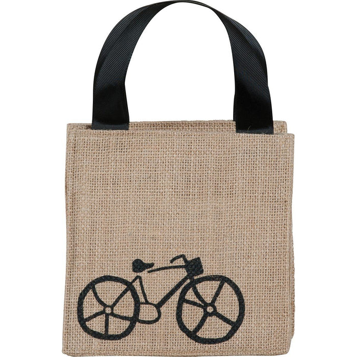 Bike Black Medium Jute Itsy Bitsy Gift Bags - rockflowerpaper LLC