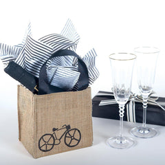 Bike Black Medium Jute Itsy Bitsy Gift Bags, Pack of 4 (Price is Per Bag) - rockflowerpaper LLC