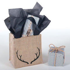 Antlers Black Medium Jute Itsy Bitsy Gift Bags, Pack of 4 (Price is Per Bag) - rockflowerpaper LLC