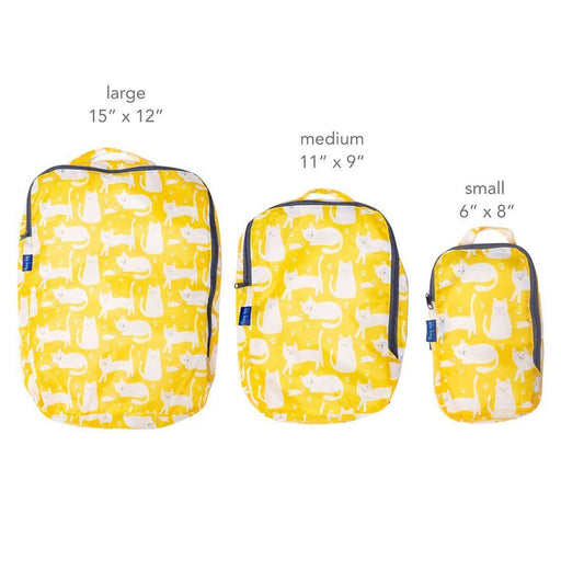 Kitty Cats Yellow Blu Bag Travel Cubes - Set Of Three - rockflowerpaper LLC