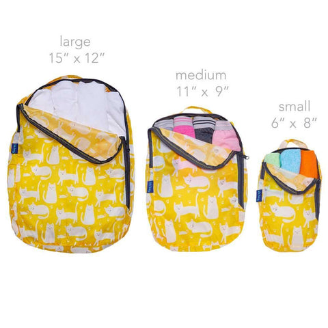 Kitty Cats Yellow Blu Bag Travel Cubes - Set Of Three