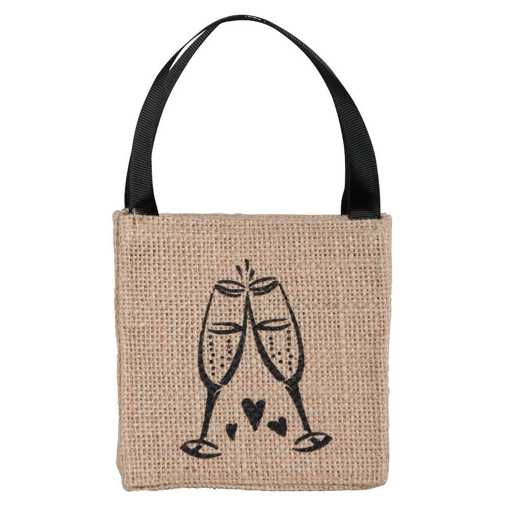Champagne Mini Jute Itsy Bitsy Gift Bags, Pack of 10 (Price is per Bag)